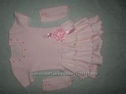 элегантное платье для торжества розовое, на возраст 3-5 лет, бу