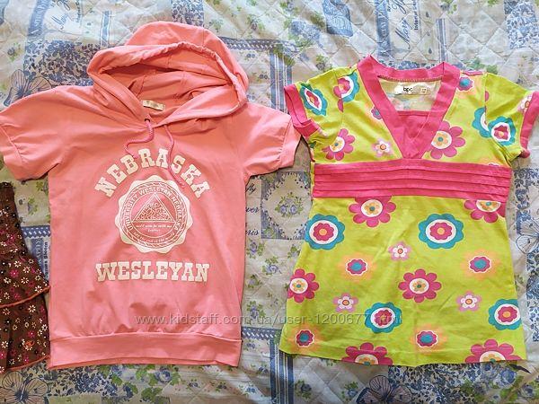 Набор одежды девочке две футболки и юбка. Размер 116