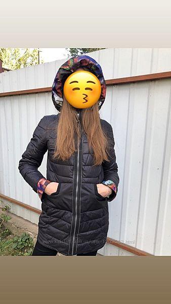 Фирменная удлиненная женская куртка с капюшоном MONCLER