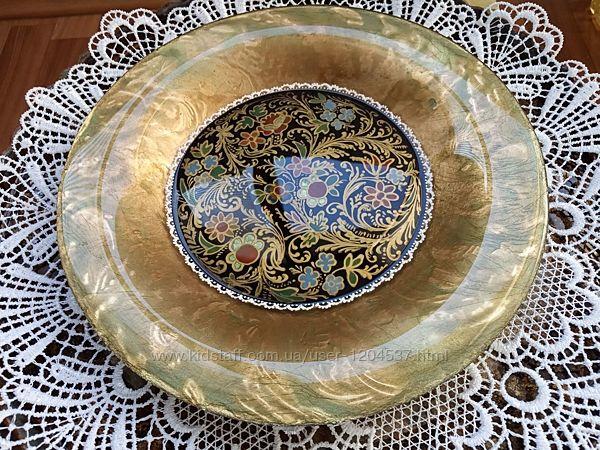 Тарелка интерьерная Цветные узоры, стекло, ручной декор