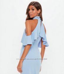 Вечернее шикарное голубое платье макси с разрезом спереди и воланами xxs-xs