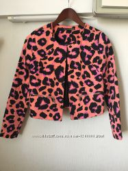 Пиджак жакет фактурный коттон яркий принт леопард