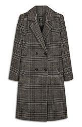 Длинное шерстяное двубортное пальто в клетку atmosphere