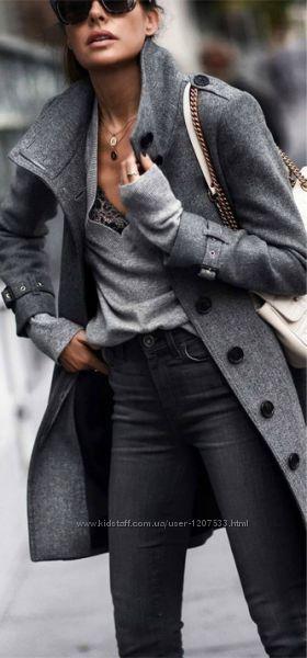 Стильне сіре пальто H&M, ХS-S