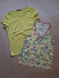 2в1 Набір жовта жіноча блузка і майка з принтом XS-S