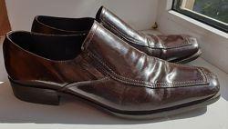 Bata кожаные классические мужские итальянские туфли, коричневые, блюхеры 43р.