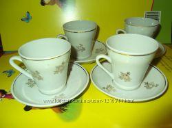 Чашки фарфоровые с блюдцами кофейные советские ретро винтажные