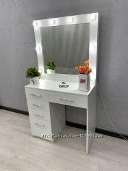 Стол для визажиста с выдвижными ящиками и зеркалом с подсветкой в раме V424