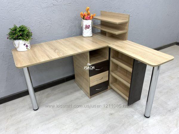 Угловой маникюрный стол с дополнительной столешницей и ящиком карго
