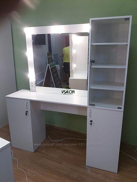 Рабочее место парикмахера-визажиста, стол парикмахера с витриной А94