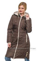 Длинная зимняя женская стеганная куртка