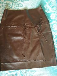 Коричневый кожзам юбка из кожзама не дошитая