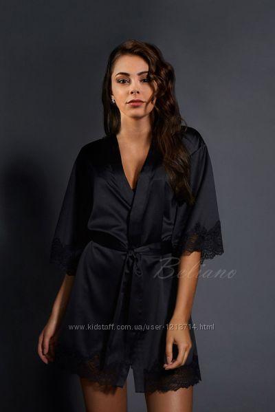 Женский халат шелковый черный c4b7e1e2a91ec