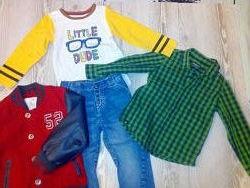 Комплект одежды для мальчика бомбер, джинсы, рубашка, реглан mothercare