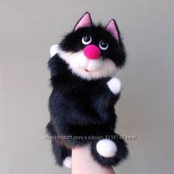 Котик Черныш. Бибабо. Игрушка перчатка для домашнего кукольного театра.