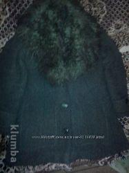 Зимнее пальто в отличном состоянии, драп, натуральный воротник, р-р 48-52