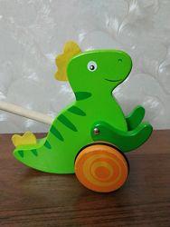 Деревянная каталка Viga Toys Динозавр Игрушка