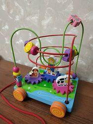 Лабиринт каталка Viga Toys деревянный Машинка