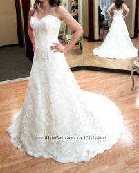 Шикарное свадебное платье со шлейфом, Justin Alexander 8627, размер 46-52