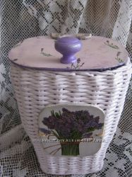 Плетенный коробок Лавандовый