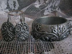 Браслет и серьги   серебро под старину