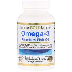 California Gold Nutrition, Омега-3, рыбий жир высшего качества, 100 капсул