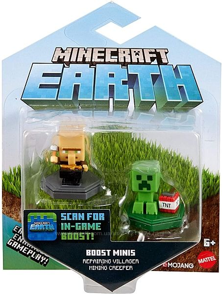 Набор мини-фигурок Майнкрафт крипер  и житель Mattel Minecraft Earth Boost