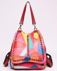 Рюкзак женский кожаный Patchwork цветной.