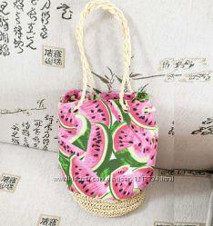 Сумка женская, сумка плетенная, сумка летняя. Арбузики.  подарок