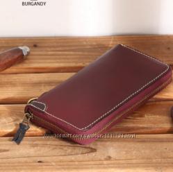 Кошелек мужской кожаный, портмоне, натуральная кожа. Hand made. Бордо.