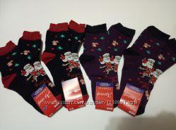 Носки носочки махровые женские на Новый Год новогодние с Дедом Морозом