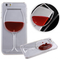 Прозрачный чехол Бокал вина для iPhone 5 5s 6 6s 7 8 X