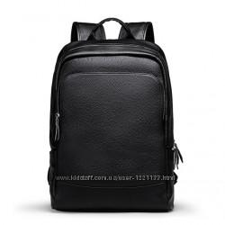 Рюкзак мужской городской кожаный LIELANG. Ранец из натуральной кожи черный
