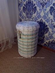 Корзина для белья или игрушек плетёная круглая крышка