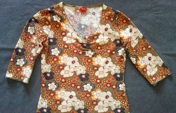 S. Oliver. Футболка-блуза с глубоким декольте, р. 46-48