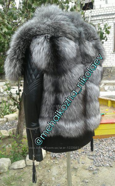 Шикарная куртка с капюшоном на плечи из натурального меха чернобурки