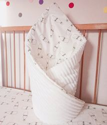 Плюшевый плед минки конверт на выписку для новорожденного в коляску кроватк