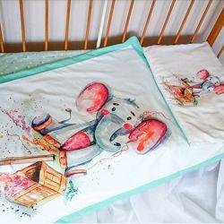Бортики детское постельное белье набор комплект в кроватку простынь подушки
