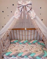 Бортик коса косичка велюр в детскую кроватку