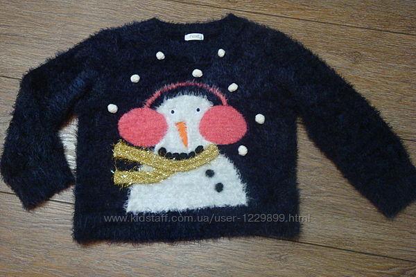 Красивый свитер травка со снеговиком Next 4 года