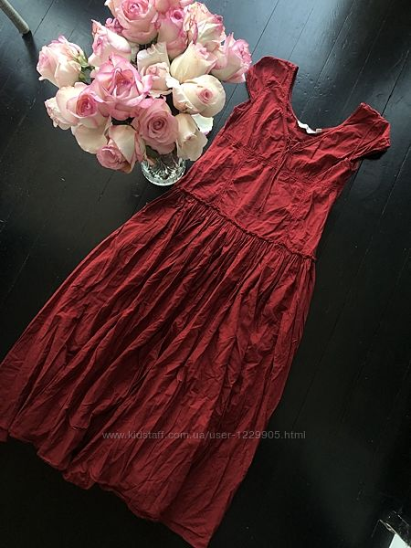 Бордовый длинный сарафан платье Next