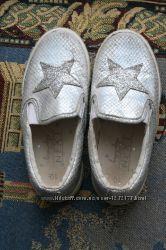 Серебряные туфли, слипоны, Next, Некст р 10 28, в хорошем состоянии
