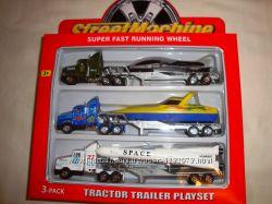 Набор машинок метал, 3 трейлера, ракета, самолет, катер