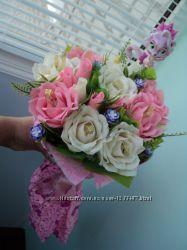сладкие цветы с бумаги, подарок сладкий букет с конфетами