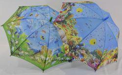 Детский зонтик трость с рыбками 1703 на 4-7 лет от фирмы SL