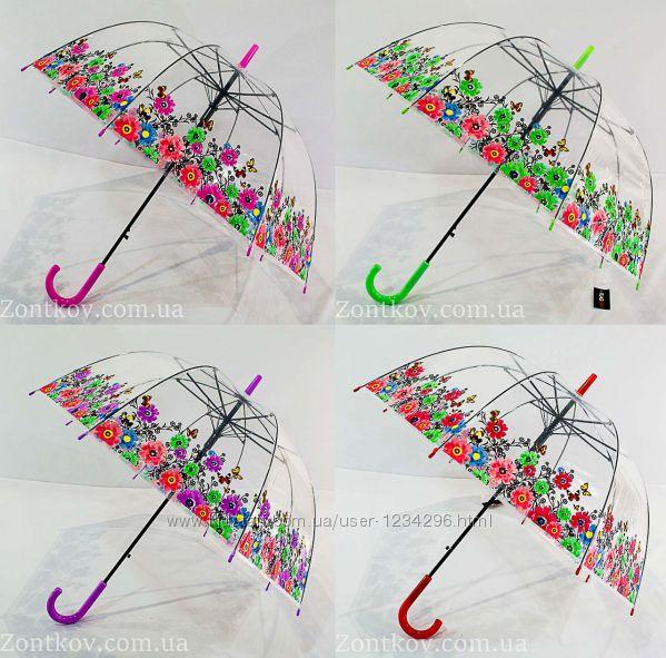Прозрачный зонтик трость грибком с цветками по куполу от фирмы Smail