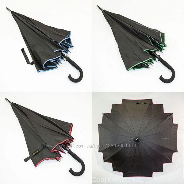 Зонтик трость кленовый лист black на 16 карбоновых спиц.