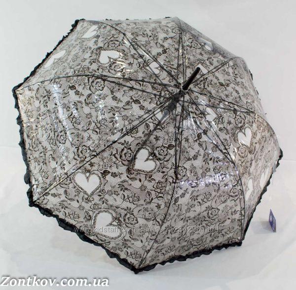 Прозрачный зонтик трость с ажурным узором от фирмы Feeling Rain.