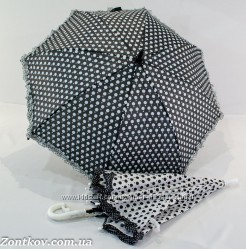 Детский зонтик трость в горошек и рюшей по краю на 5-9 лет от фирмы Yuzont