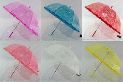 Детский прозрачный ажурный зонтик для девочек грибком на 4-7 лет  005.
